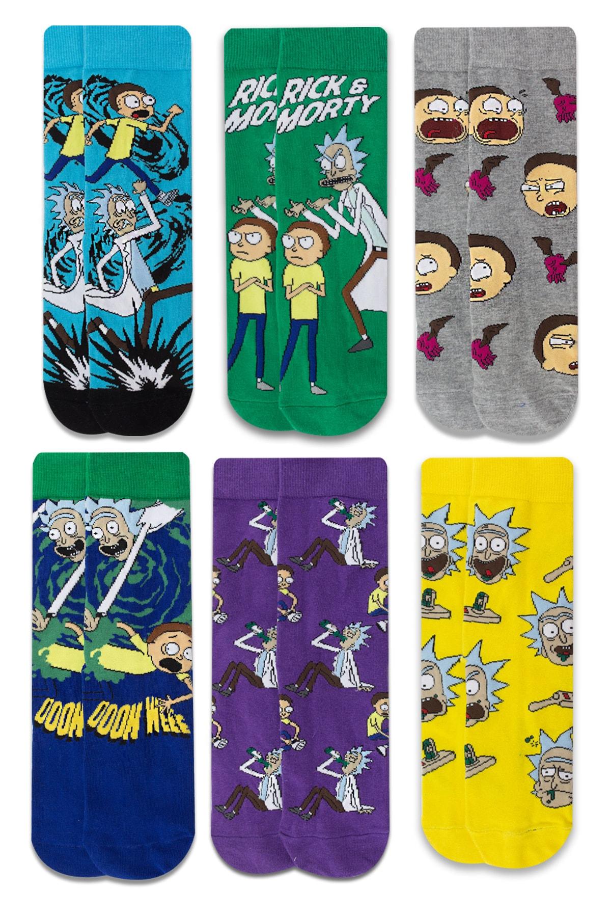 Socksarmy Rick & Morty Desenli 6 'lı Renkli Çorap Seti 1