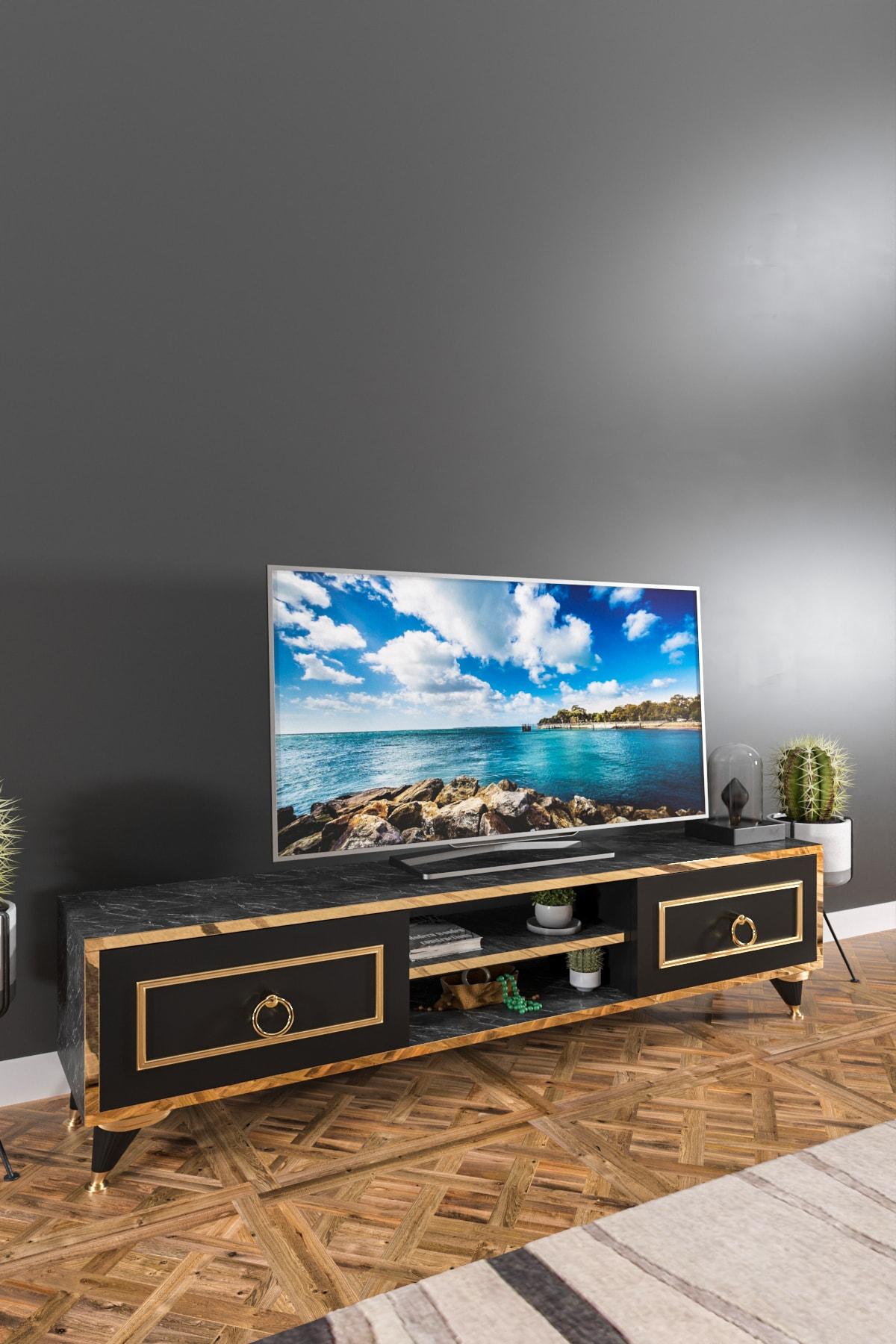 Ardeno Lotus Tv Ünitesi Siyah Mermer 2