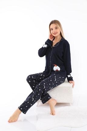 FREZYA Lacivert Pamuk Penye Biyeli Düğmeli Uzun Kol Kadın Pijama Takımı