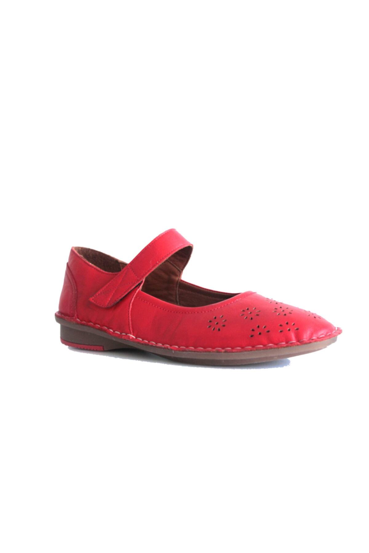 Beta Shoes Kadın Hakiki Deri Babet Kırmızı 1