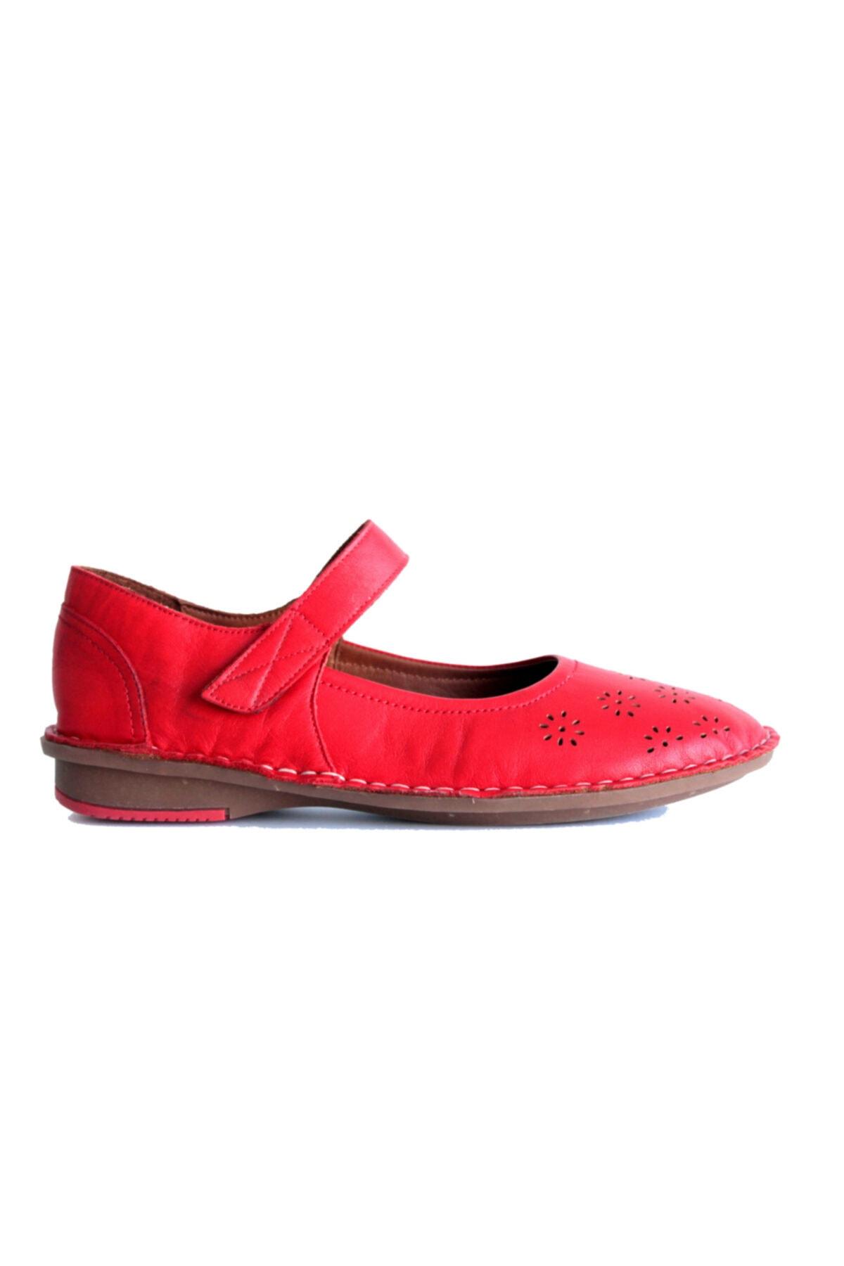 Beta Shoes Kadın Hakiki Deri Babet Kırmızı 2