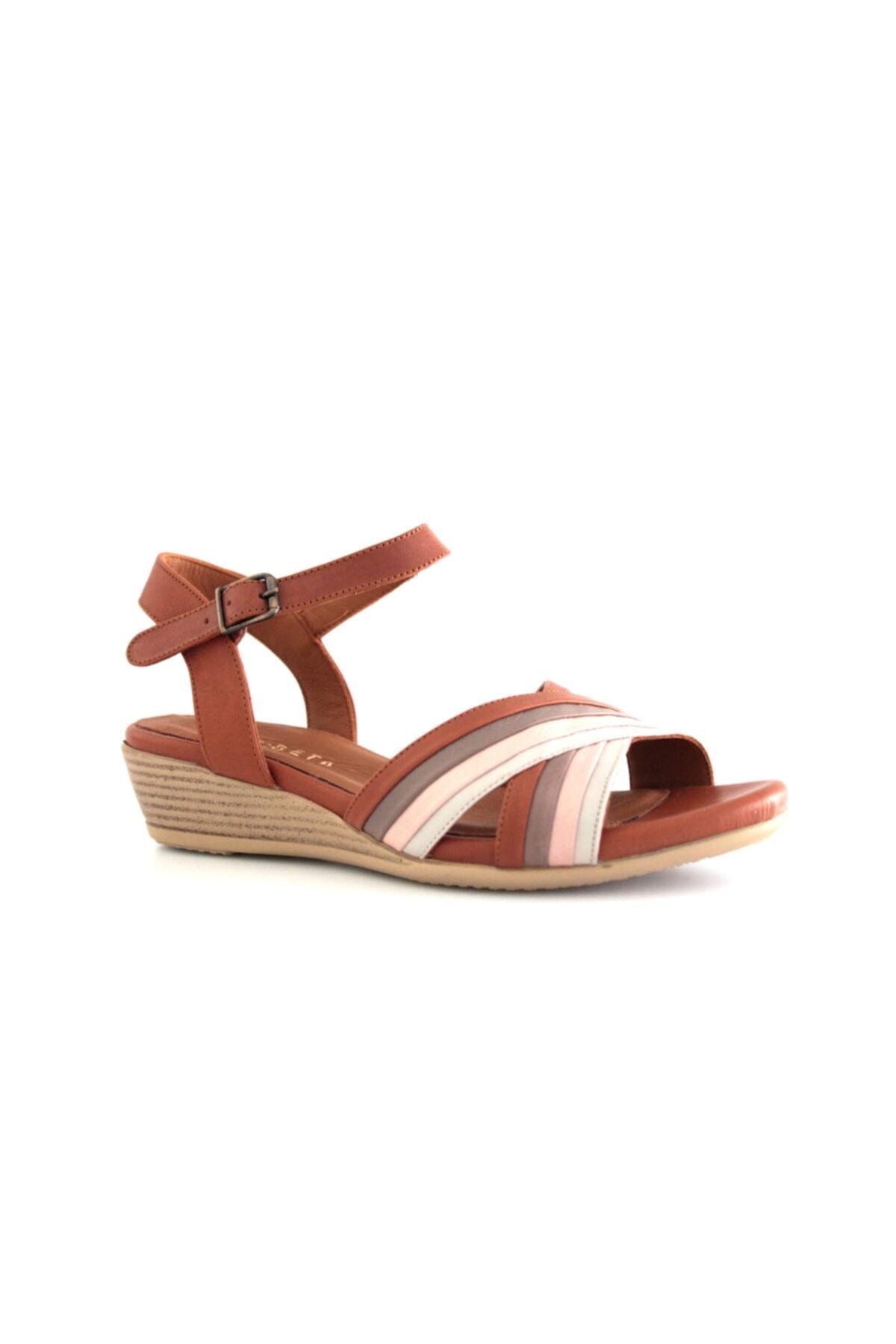 Beta Shoes Hakiki Deri Kadın Sandalet Vizon 1