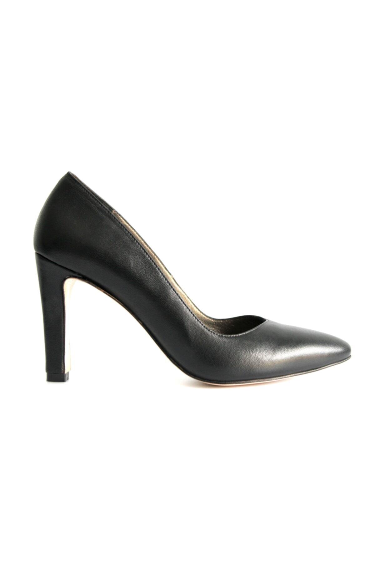 Beta Shoes Kadın Hakiki Deri Topuklu Ayakkabı Siyah 2