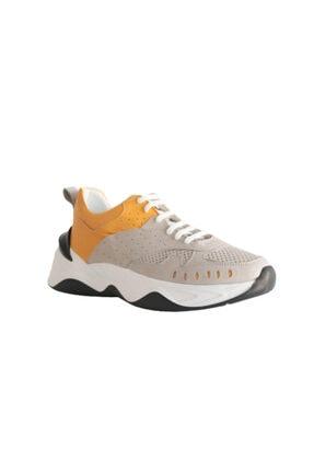 Beta Shoes Sneaker Spor Ayakkabı Hakiki Deri Kadın Gri - Hardal