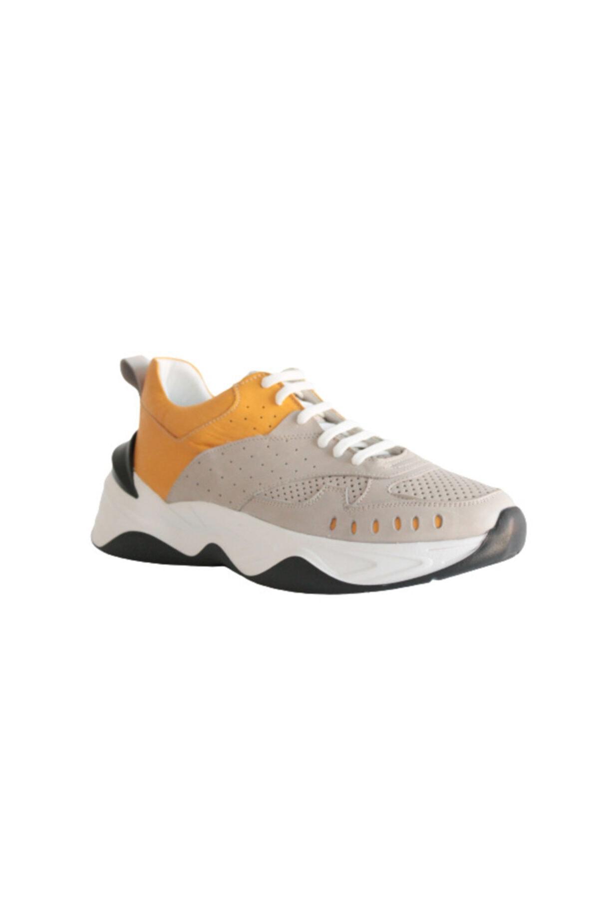 Beta Shoes Sneaker Spor Ayakkabı Hakiki Deri Kadın Gri - Hardal 1