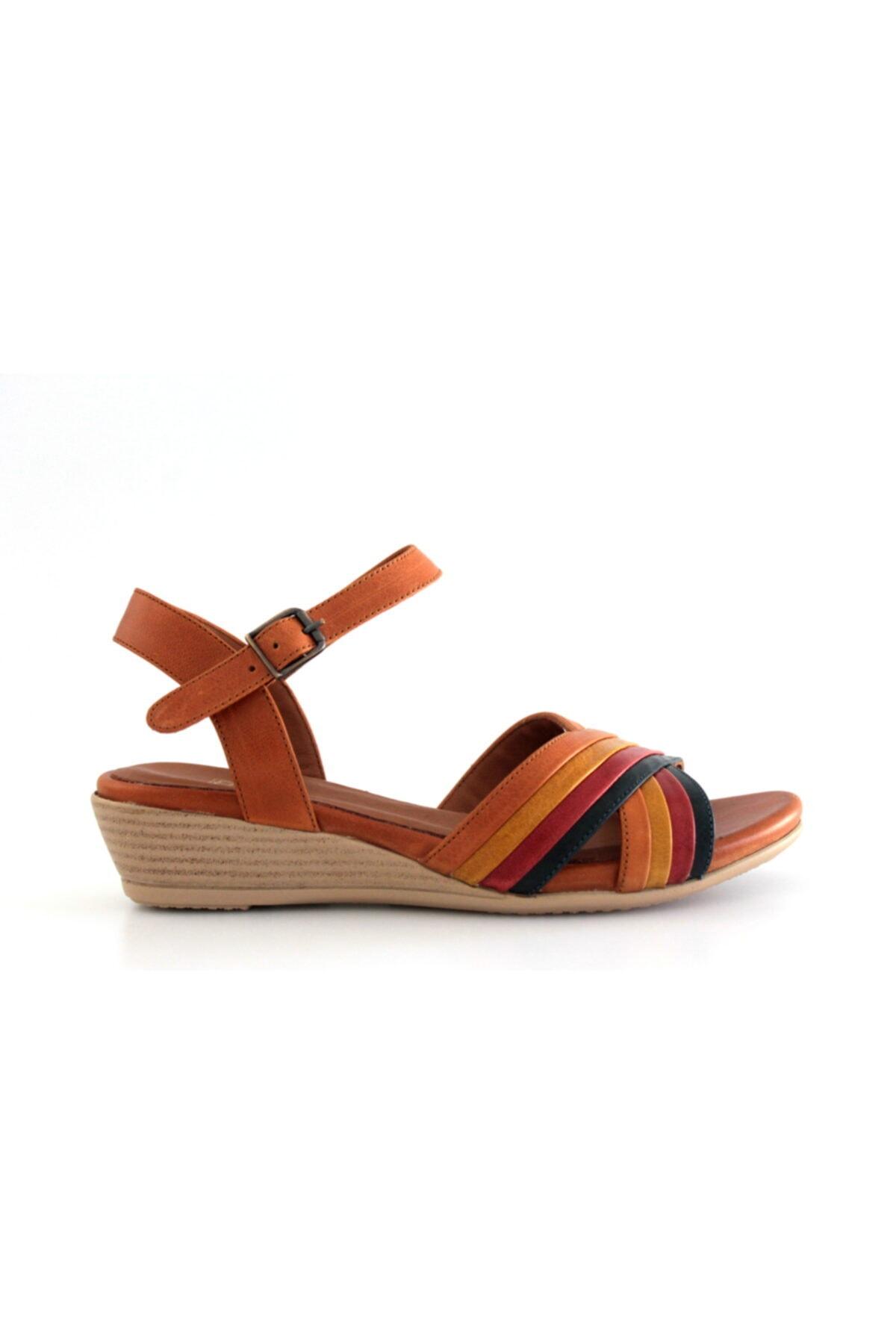 Beta Shoes Hakiki Deri Kadın Sandalet Taba 2
