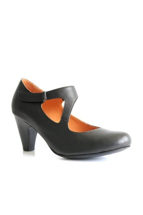 Beta Shoes Kadın Hakiki Deri Topuklu Ayakkabı Siyah