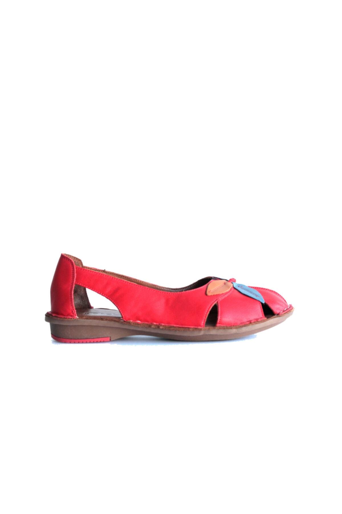 Beta Shoes Kadın Hakiki Deri Günlük Ayakkabı Kırmızı 2