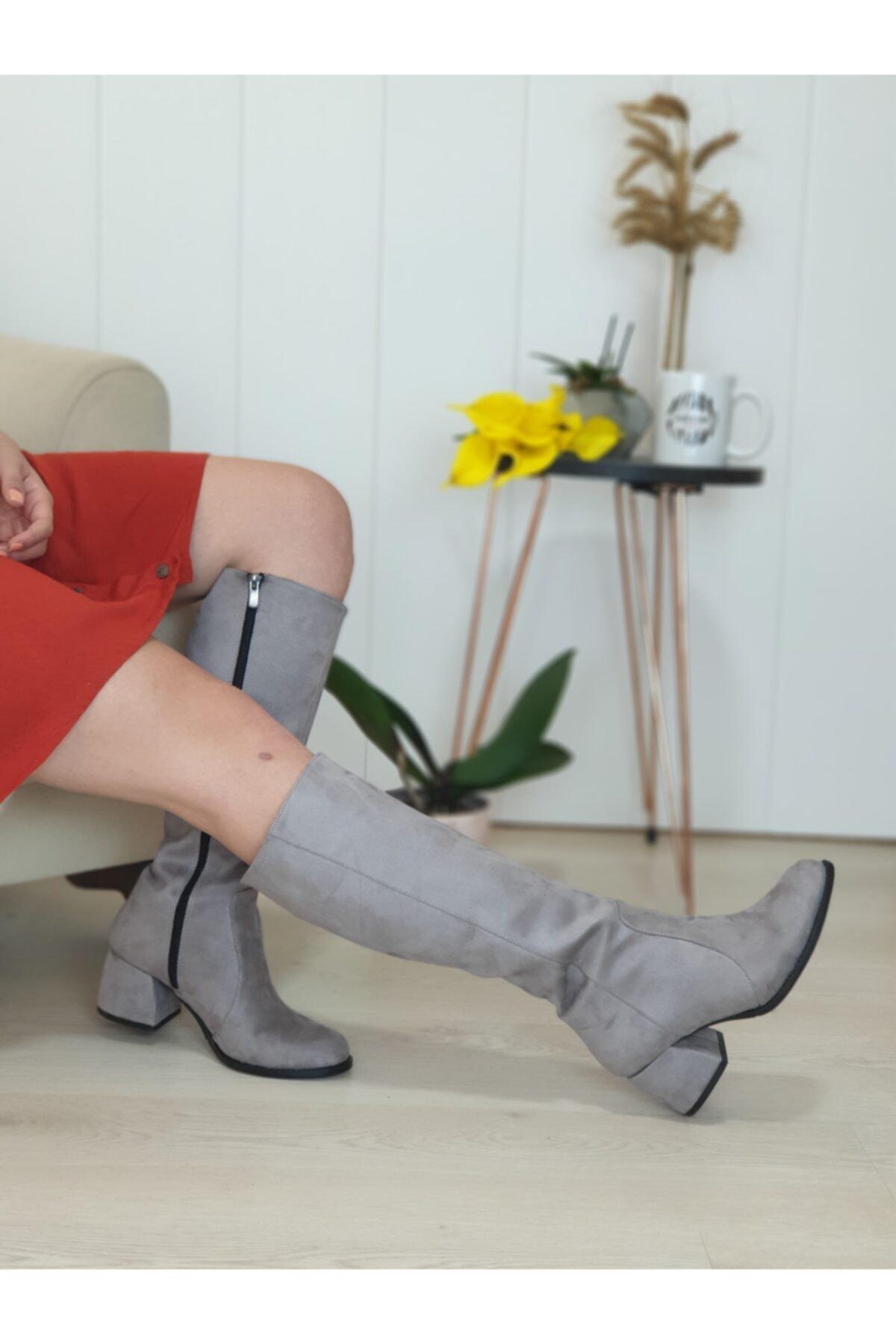 PAPUCSAN Afra Füme Renk Kadın Çizme 1