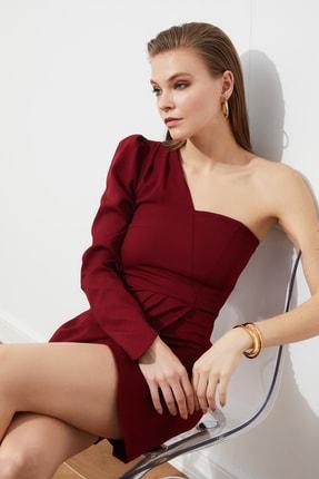 TRENDYOLMİLLA Bordo Kol Detaylı Elbise TPRSS21EL1148