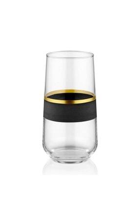 SARACHOME Siyah Gold Glow Su Bardağı 6'lı Set