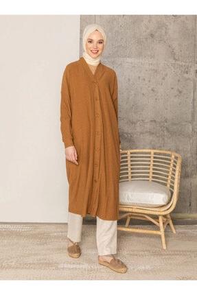 Loreen Kadın Kahverengi Boydan Düğmeli Tunik