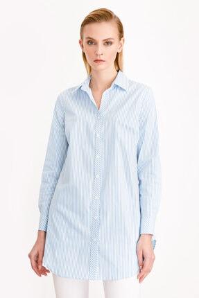 Ekol Kadın Mavi Çizgi Desenli Tunik