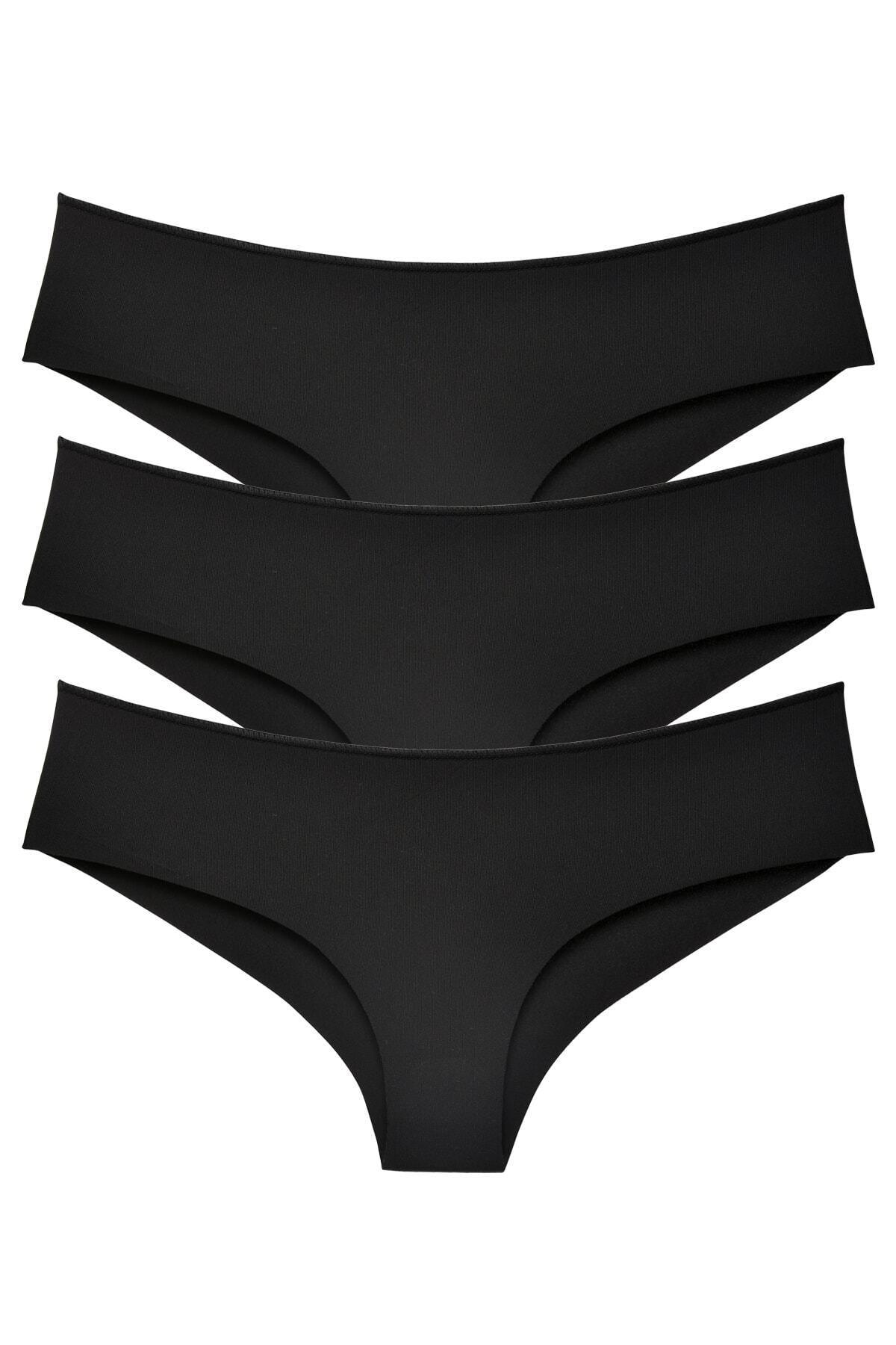 Sensu Kadın Siyah Brazilian Panty Lazer Kesim Külot 3'lü Paket Set 1