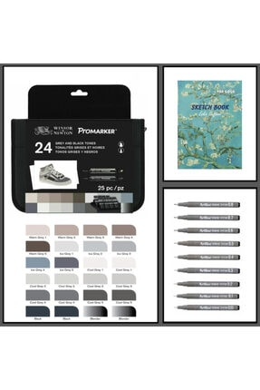 Winsor Newton Promarker Kalem 24 Renk & Artline Drawing 9lu Set & Odak A4 140gr Sketch Book