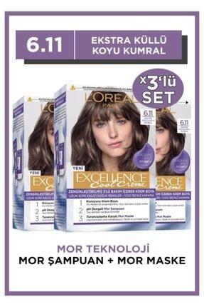 L'Oreal Paris L'oréal Paris Excellence Cool Creme Saç Boyası – 6.11 Ekstra Küllü Koyu Kumral 3'lü Set