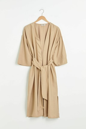 LC Waikiki Kadın Koyu Bej Kimono