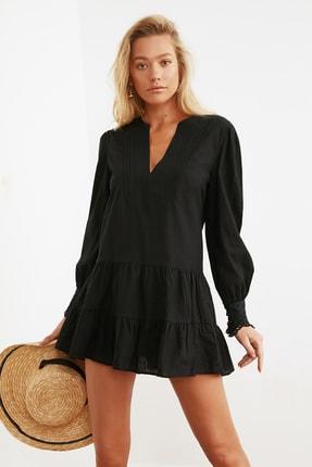 TRENDYOLMİLLA Siyah Manşet Detaylı Dokuma Plaj Elbisesi TBESS21EL1086