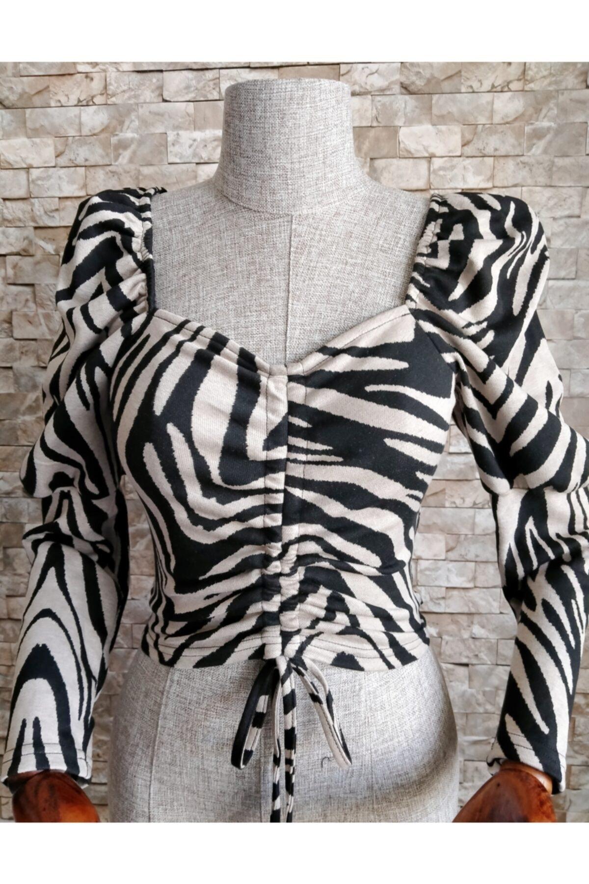 Quzu Kadın  Zebra Desen Büzgülü Bluz 1