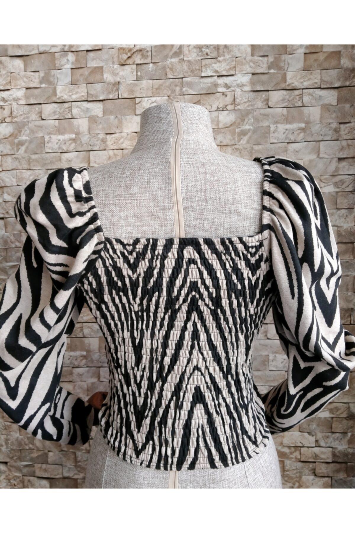 Quzu Kadın  Zebra Desen Büzgülü Bluz 2