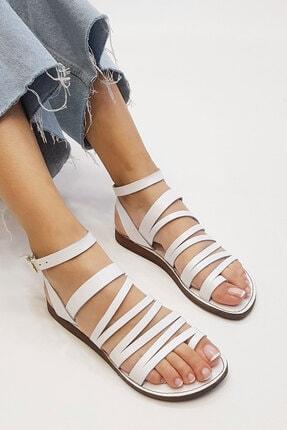 Marjin Kadın Beyaz Hakiki Deri Günlük Sandalet Saper