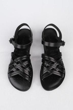 Marjin Kadın Siyah Hakiki Deri Günlük Sandalet Alen