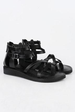 Marjin Kadın Siyah Hakiki Deri Parmak Arası Sandalet Zelos