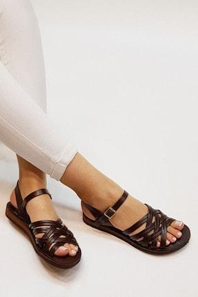 Marjin Kadın Kahve Hakiki Deri Günlük Sandalet Alen