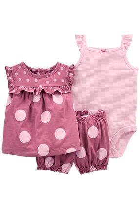 Carter's Kız Bebek Pembe Puantiyeli Takım 3 Lü