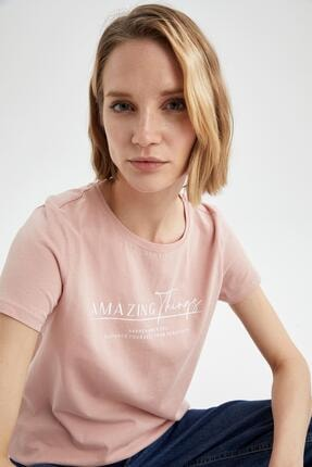 DeFacto Kadın Pembe Slogan Baskılı Pamuklu Relax Fit Kısa Kollu T-Shirt