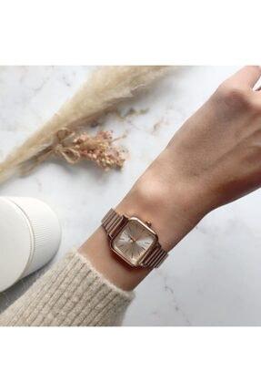OQQO Minimal Kare Rose Gümüş Kadın Kol Saati