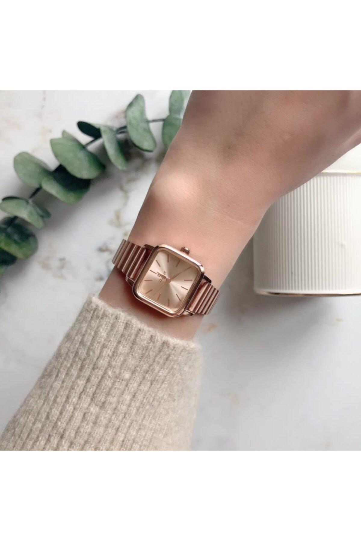 OQQO Minimal Kare Rose Gold Kadın Kol Saati 1
