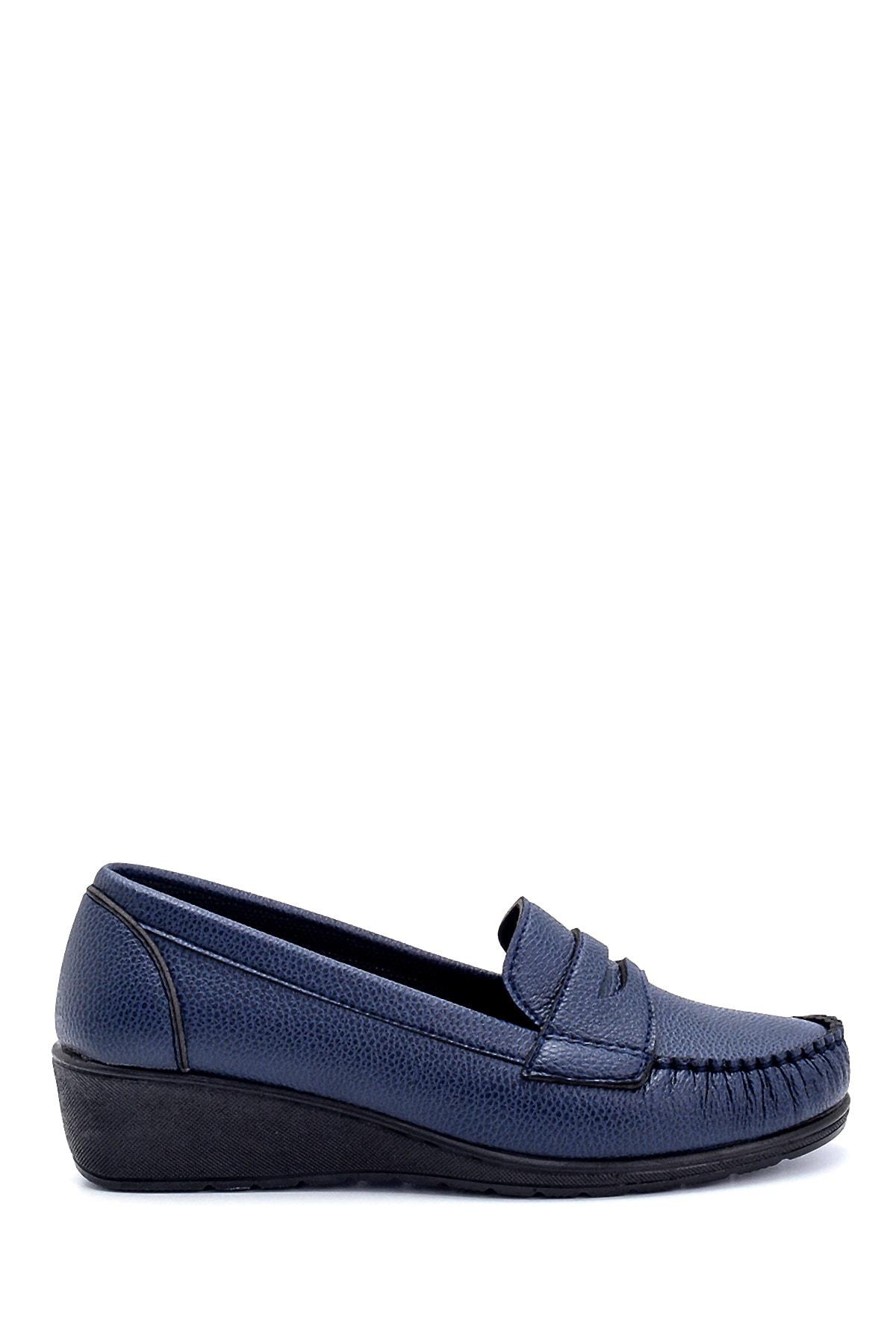 Derimod Kadın Lacivert Dolgu Topuklu Loafer Ayakkabı 1