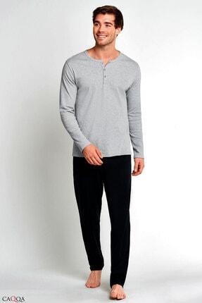 CAQQA Qman Serisi Siyah Gri Erkek Pijama Takımı