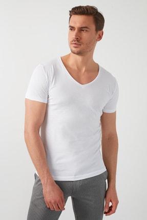 Buratti Erkek Beyaz V Yaka Basic  T-Shirt