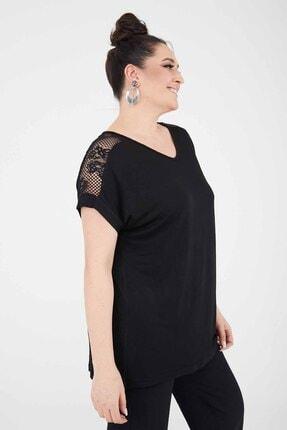 Siyezen Kadın Siyah Büyük Beden Omzu Transparan Dantel Bluz