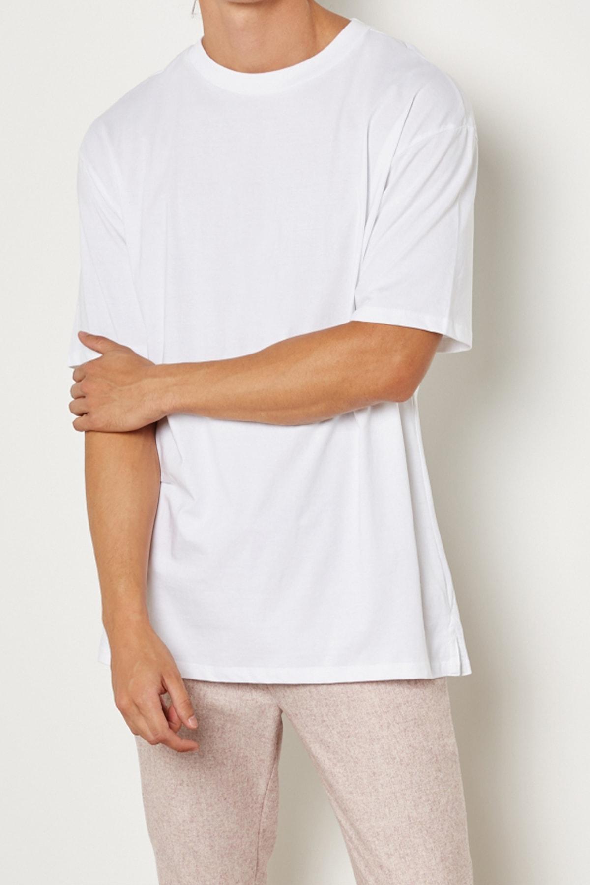 Relax&Basic Erkek Beyaz Oversize Basic T-shirt 1