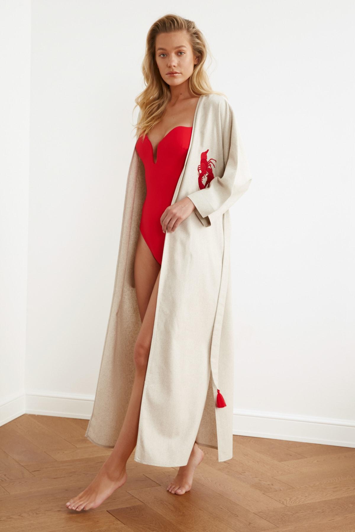 TRENDYOLMİLLA Kırmızı İstakoz Nakışlı Keten Kimono&Kaftan TBESS20KM0051 2