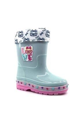 GEZER 561 Kız Çocuk Yağmur Çizme Içi Yünlü Kar Botu Mint