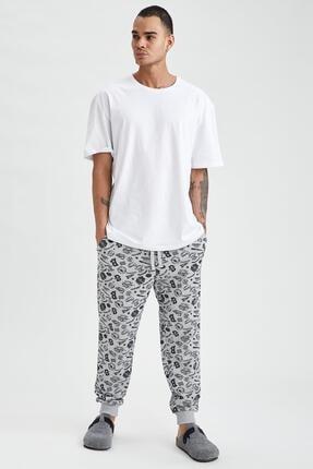 DeFacto Erkek Gri Desenli Regular Fit Pijama Alt