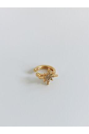 The Y Jewelry Kadın Sarı Zirkon Taşlı Ear Cuff Küpe