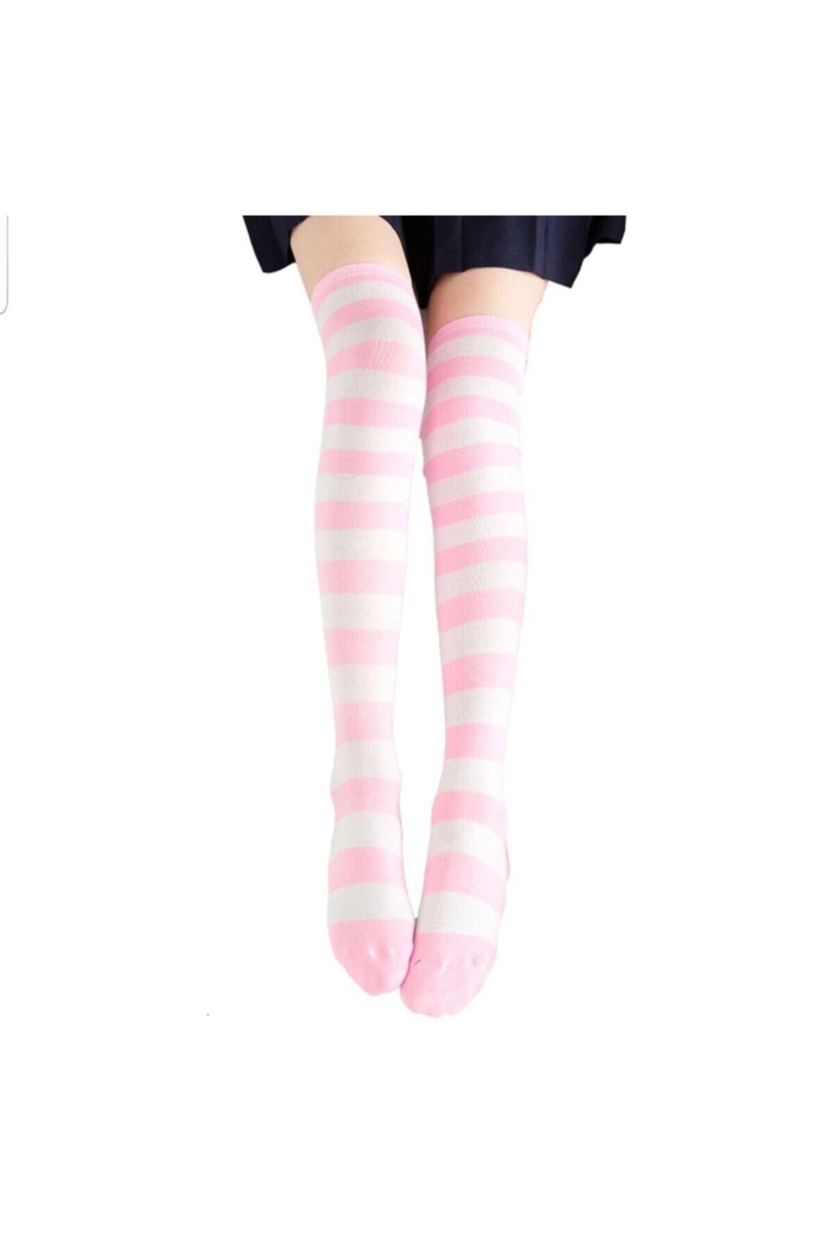Cindiy Pembe Beyaz Diz Üstü Çorap 2