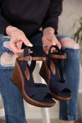 Ccway Kadın Lacivert Keten Çapraz Bantlı Dolgu Topuklu Sandalet