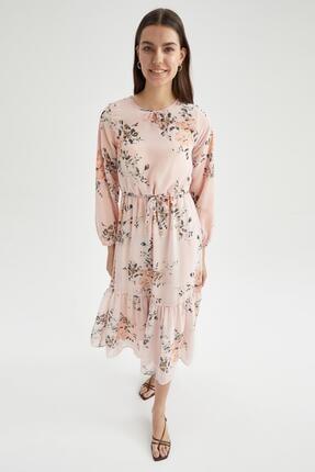 DeFacto Modest Çiçek Desenli Volan Detaylı Relax Fit Elbise