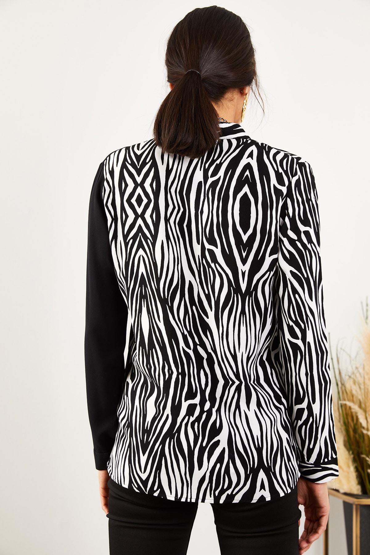 Olalook Kadın Siyah Zebra Renk Bloklu Viskon Gömlek GML-19000804 2