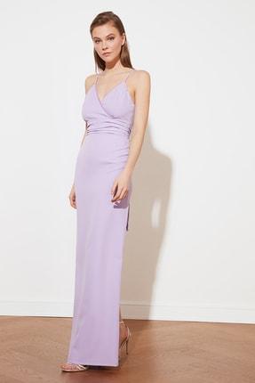 TRENDYOLMİLLA Lila Yaka Detaylı Abiye & Mezuniyet Elbisesi TPRSS21AE0037