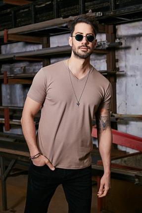 Sateen Men Erkek Kahve Kısa Kol V Yaka T-Shirt