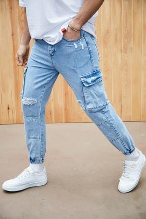 Sateen Men Erkek Mavi Jogger Pantolon