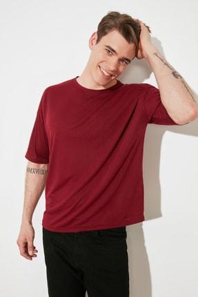 TRENDYOL MAN Bordo Basic Erkek Bisiklet Yaka Oversize Kısa Kollu T-Shirt TMNSS21TS0811
