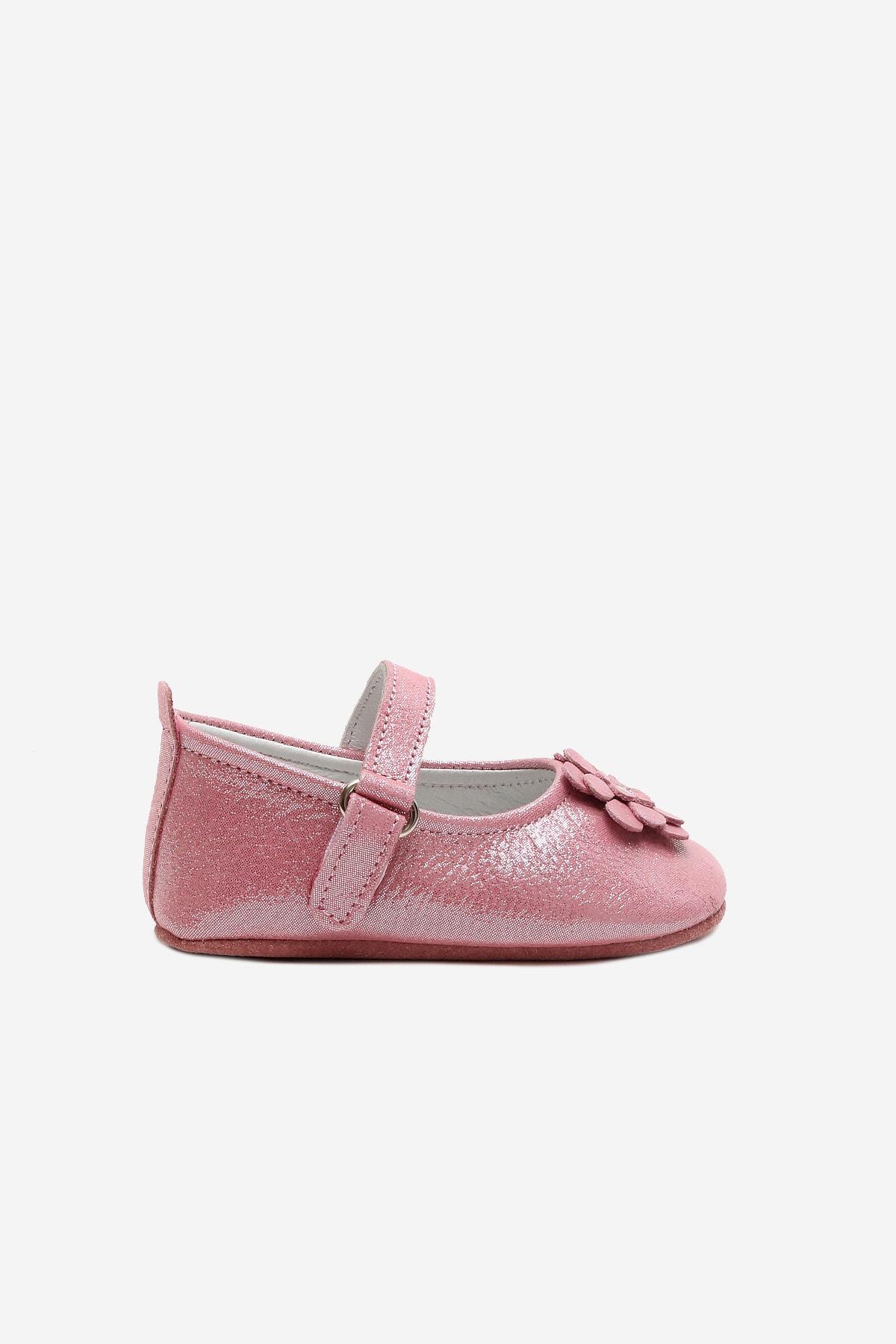 Funny Baby Naturel Deri Çiçekli Babet Bebek Ayakkabı 2